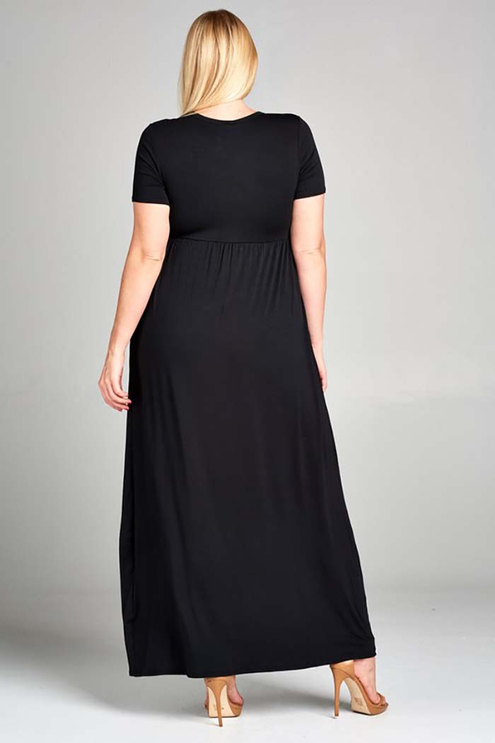Solid Daily Maxi Dress Plus : Black