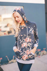 French Terry Floral Hoodie - Navy