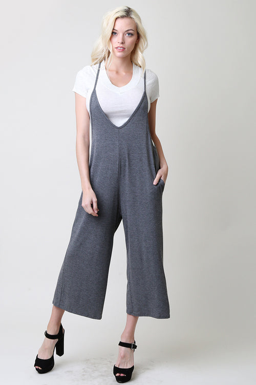 Plunging V-Neck Jumpsuits : Charcoal