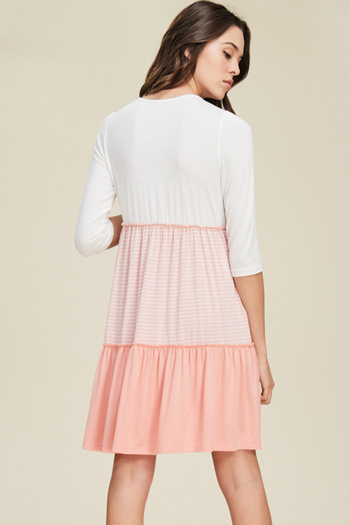 Autumn Layered Swing Dress : Ivory/Blush