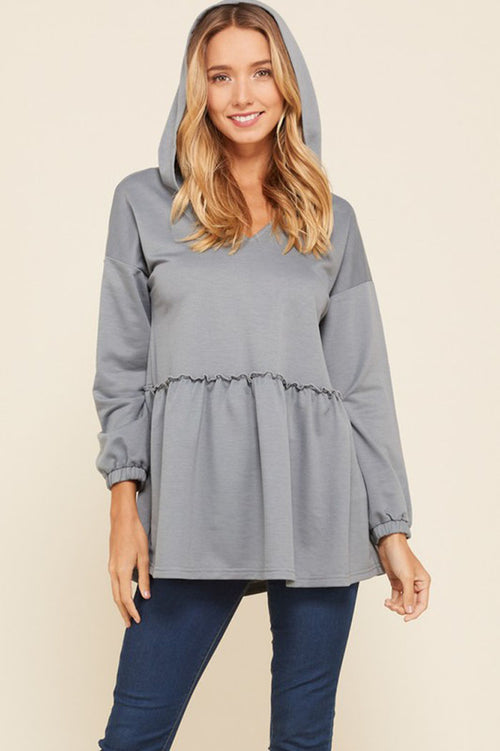 Allison Ruffle Trim Hoodie Tunic Top : Grey