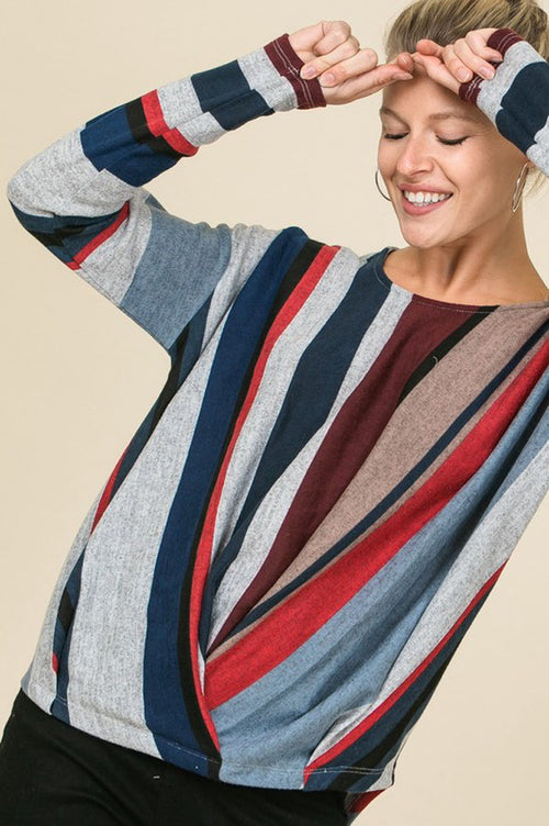 Beth Multi-Color Asymmetrical Striped Top : Burgundy