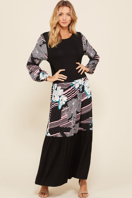 Heidi Floral Contrast Swing Maxi Dress : Black