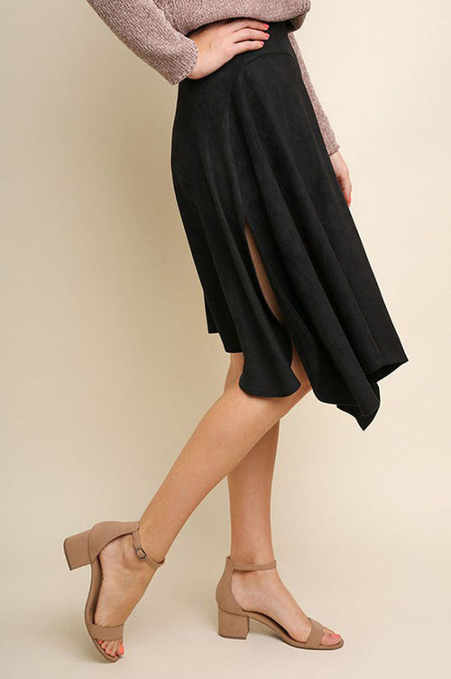 Rebecca Suede Asymmetrical Midi Skirt : Black