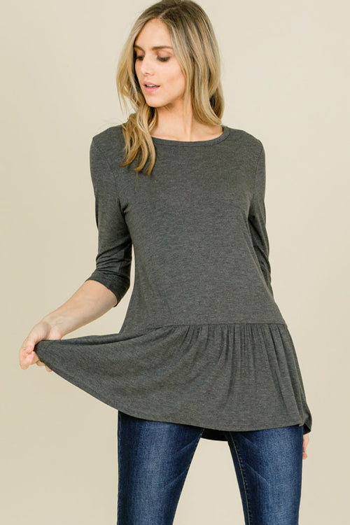Talley Solid Relaxed Ruffle Hem Top : Mid Grey