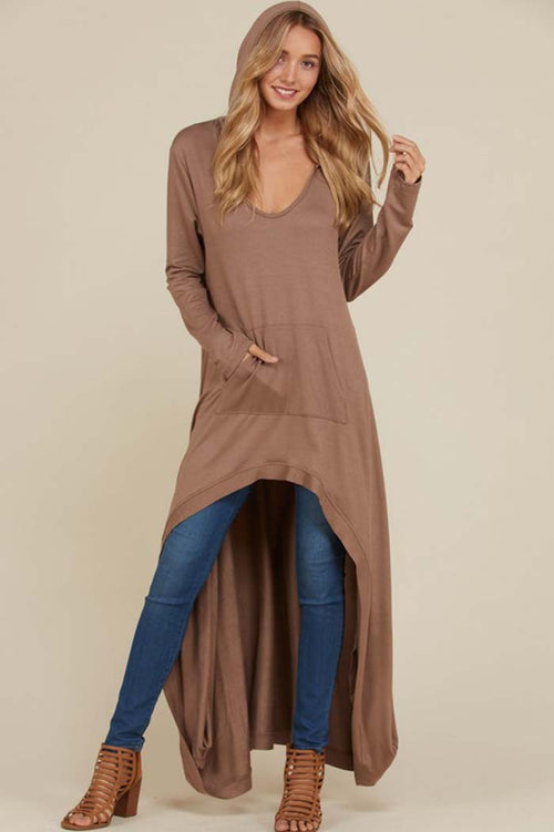 Vivian Hi-Lo Hooded Top : Camel