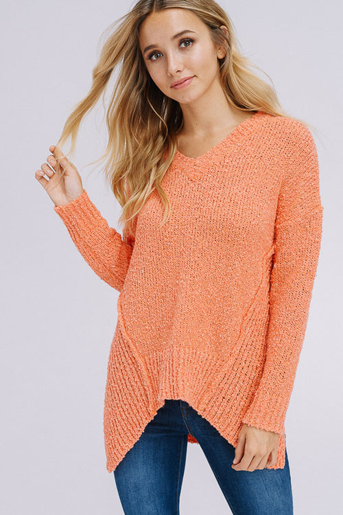 Angelina Asymmetrical Hem Sweater Top : Candy Pink