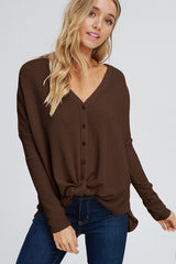 Arianna Button Down Sweater : Chocolate