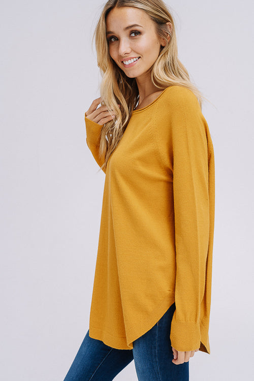 Millie Long Sleeve Tunic Top : Mustard