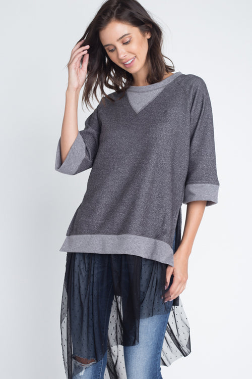 Stephanie Mesh Ruffled Tunic Top : Charcoal