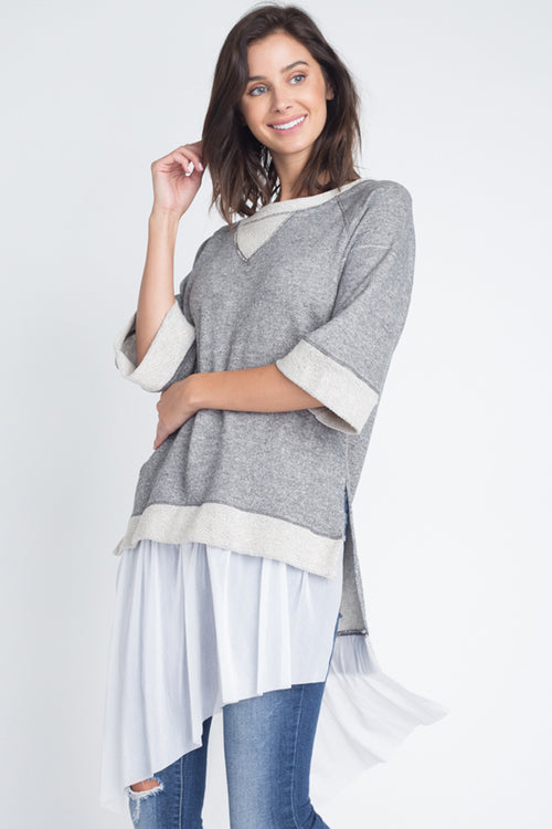 Stephanie Mesh Ruffled Tunic Top : Heather Grey