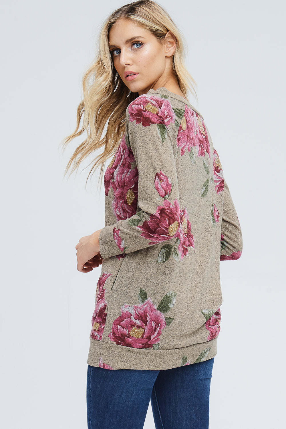 Tess Boat Neck Floral Tunic Top : Mocha