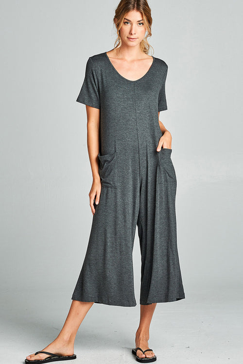 Front Pockets Solid Jumpsuits - Charcoal