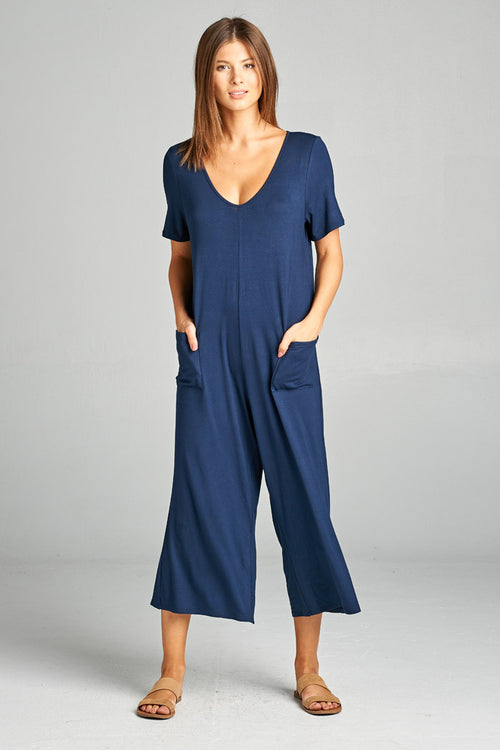 Front Pockets Solid Jumpsuits : Navy