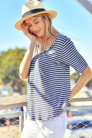 Convertible Solid Tunic Top : Navy