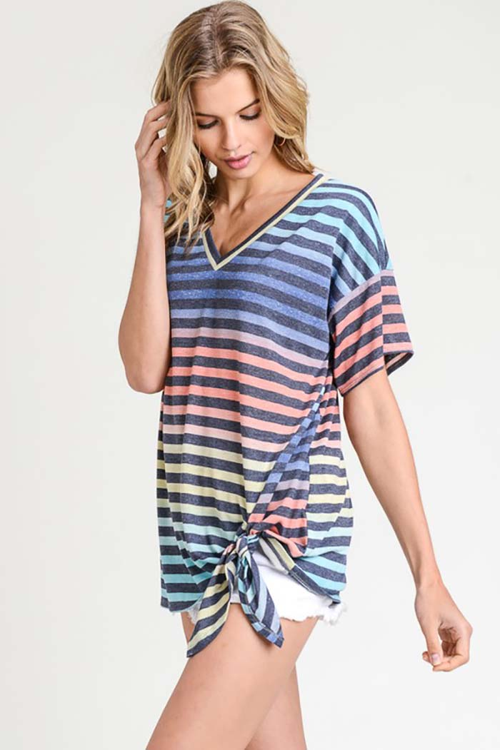 Serenity Stripe Tie Dye Top : Yellow/Orange