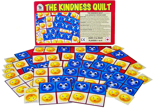 The Kindness Game, A Cooperative Tile Game by Family Pastimes Co-operative Games. Picture shows Game Box and Game Tiles displayed