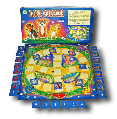 Lost Puppies Game Box, Board and Pieces set up to Play