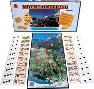 Mountaineering Game Box, Board and Pieces set up to Play