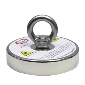 "1,500 LB Pull Round Neodymium Magnet with Threaded Stud and Eyelet, 4.72"" Diameter"