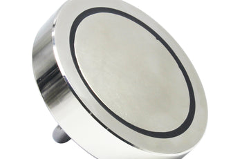 "Load image into Gallery viewer, 1,500 LB Pull Round Neodymium Magnet with Threaded Stud and Eyelet, 4.72"" Diameter"