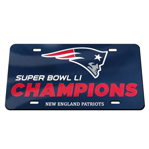 Patriots NFL Super Bowl LI Champions Crystal Mirror License Plate - Fan Shop TODAY