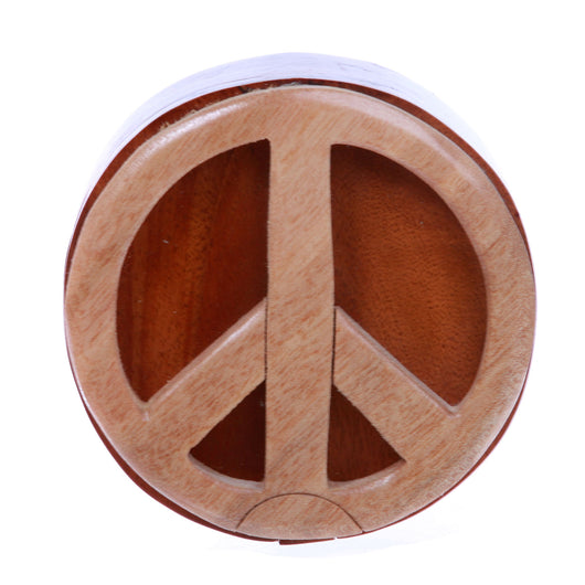 Peace Sign Handcrafted Wooden Round Shape Secret Jewelry Puzzle Box -Peace Sign
