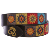 "1 1/2"" Applique Embroidery Vintage Sun Shape Stitching Rectangular Buckle Belt"
