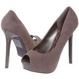 Breckelles Women's High Heel Suede Platform Open Toe Pumps