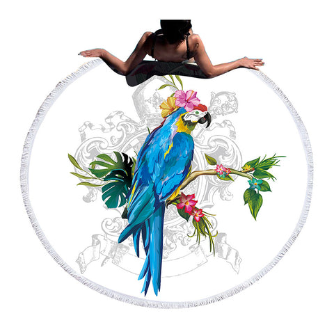 BeddingOutlet Round Beach Towel Parrot Bath Towel Large for Adults Kids Summer Cover Up Toalla With Tassel