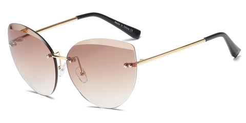 Rimless Fashion Tinted Lens Round Cat Eye Sunglasses
