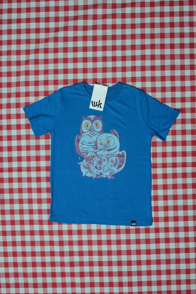Familie Eule Kids T-Shirt bright blue (by Nychos)