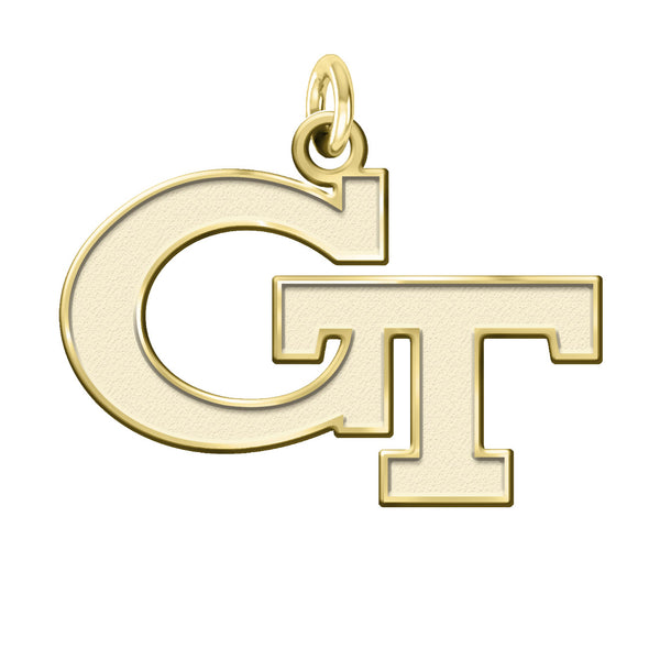 Georgia Tech Yellow Jackets Solid 14K Yellow Gold Natural Finish Cut Out Logo Charm