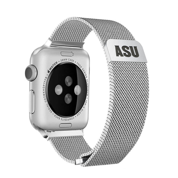Arizona State University Sun Devils Stainless Steel Replacement Apple Watch Band - DealsAmazingDeals.com