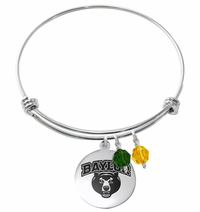 Baylor Bears Stainless Steel Bangle Bracelet with Round Charm - DealsAmazingDeals.com