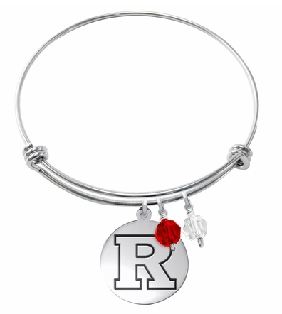Rutgers Scarlett Knights Stainless Steel Bangle Bracelet with Round Charm