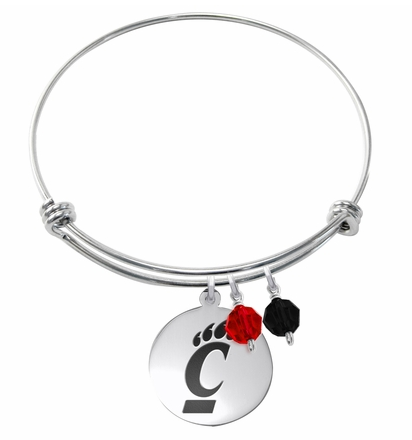 Cincinnati Bearcats Stainless Steel Bangle Bracelet with Round Charm - DealsAmazingDeals.com