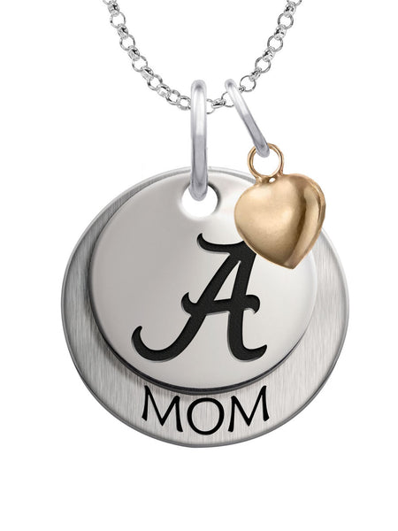 Alabama Crimson Tide MOM Necklace with Heart Accent - DealsAmazingDeals.com