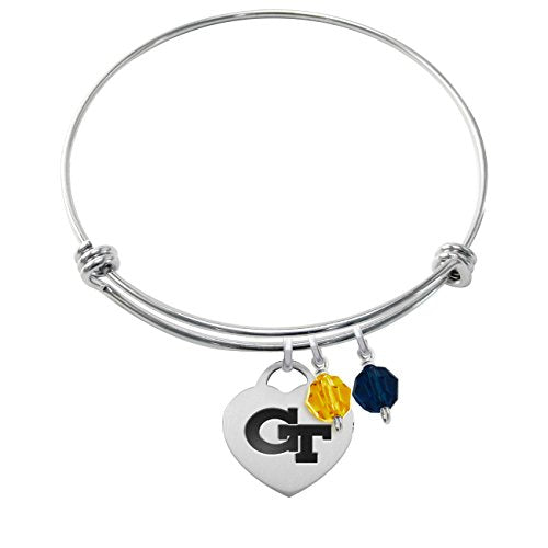 Georgia Tech Yellow Jackets Stainless Steel Adjustable Bangle Bracelet with Heart Charm & Crystal Accents