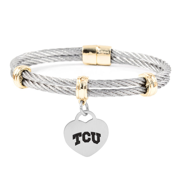 Texas Christian Horned Frogs Charm Bracelet Stainless Steel Magnetic Clasp Bangle