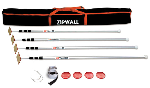 Zipwall 4 Pack, 4 Poles, 1 Bag, 2 Disks, 2 Zippers