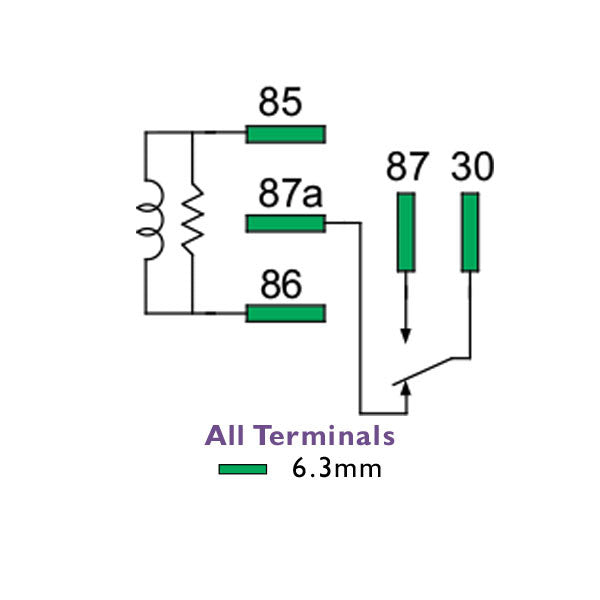 mini relay 24 volt 20  15 amp change over normally closed  5 pin  kit