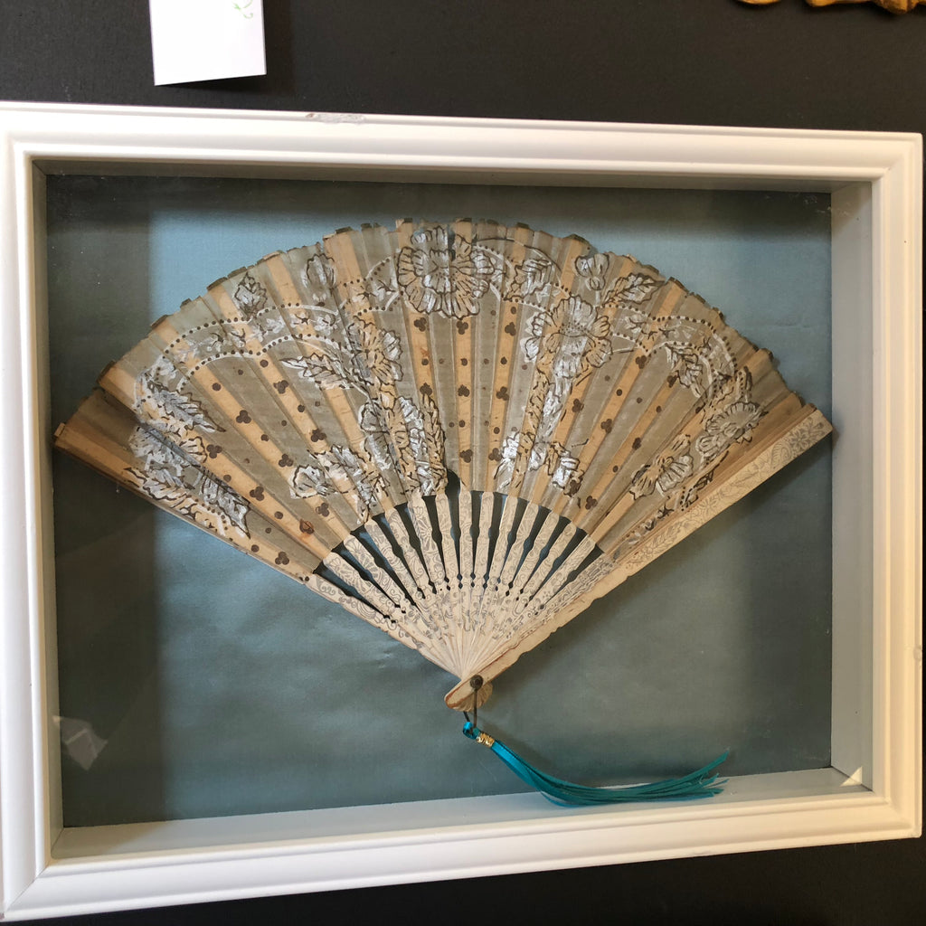 Set of 4 Antique Fans Mounted on Satin in Shadow Boxes