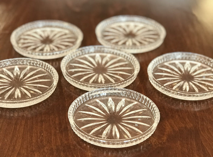Set of 6 Lead Crystal Coasters