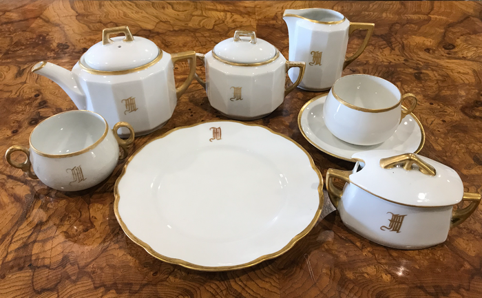 "Monogrammed ""M"" 31-Piece Tea Set in Bavarian Crescent China"