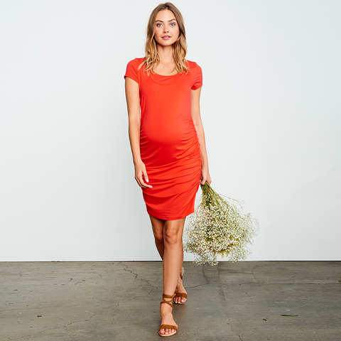 MA Ruched Dress - Red