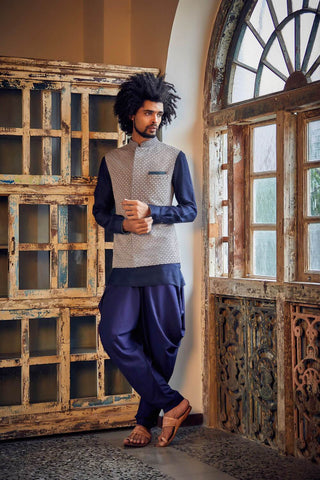 Navy & Grey Og Flower Shirt Kurta Set  - The Ethnic Fix - Dubai - UAE
