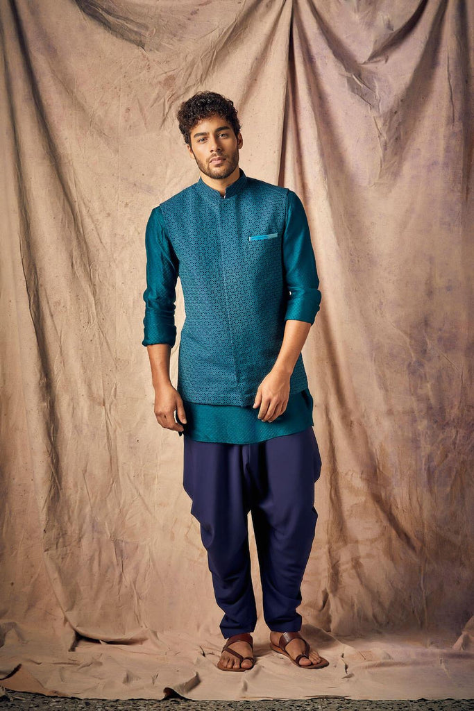 Turquoise Smoked Peacock & Grey Criss-cross Shirt Kurta Set  - The Ethnic Fix - Dubai - UAE