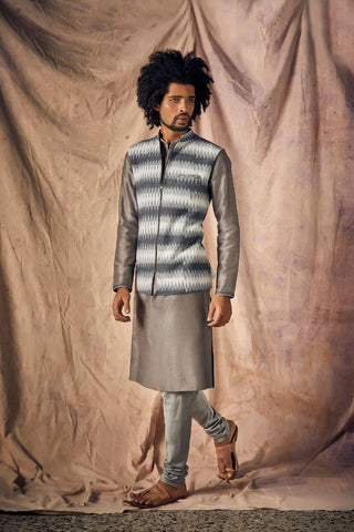 Grey Volcanic Glass & Antique Silver Embroidered Kurta set - The Ethnic Fix - Dubai - UAE