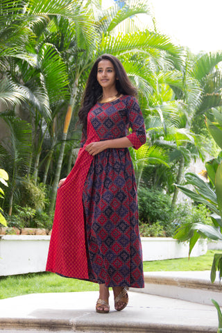 Berry And Blue Wrap Dress - The Ethnic Fix - Dubai - UAE